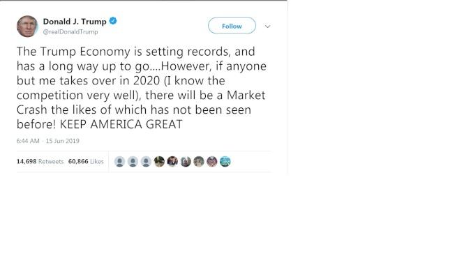 川普推文說,若他在2020年無法連任,股市會崩盤。(川普推特)