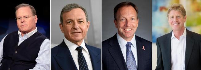 2018年美國大公司前幾位收入最高的執行長,左起為排名第一的Discovery的David Zaslav,1億2950萬元,排名第二為迪士尼Robert Iger,6560萬元。Hologic的Stephen MacMillan,4200萬元,Align科技的Joseph Hogan,4180萬元。(美聯社)
