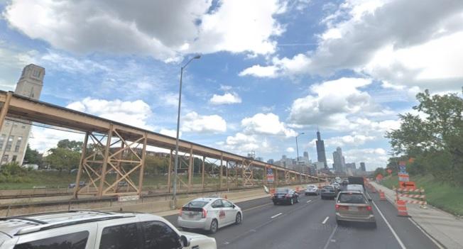艾森豪高速路(I-290)進入芝加哥路段車道,即日起縮減。(google地圖)