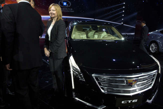 通用汽車CEO巴拉在凱迪拉克新車發表會場。(美聯社)