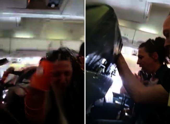 """保加利亚航空公司""""ALK Airlines""""16日从科索沃飞瑞士的一架航班遇上严重乱流,空姐连人带推车被抛飞,车上饮料、热水、杯子全都散落到一旁乘客身上。图片撷取YouTube/Storyful Rights Management影片"""