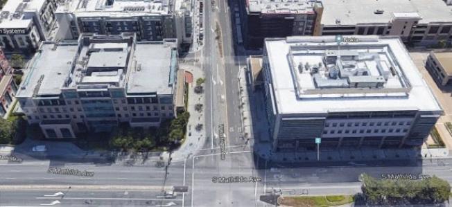 Uber已租下桑尼維爾市中心的兩棟大樓,準備日後擴展之用。 (Google Maps)