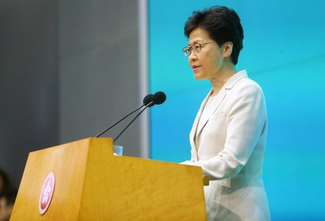 香港行政長官林鄭月娥下午舉行記者會,聲明針對處理修例工作不足,要負好大責任,並向市民真誠道歉。(特派記者王騰毅/攝影)