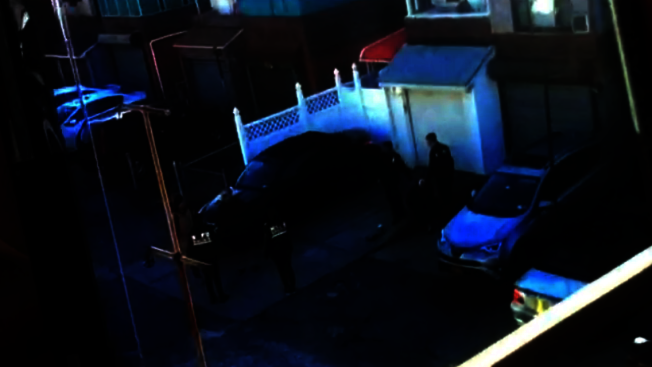 鄰居提供的視頻顯示林大河涉嫌在住宅後院殺死兒媳,被警方當場控制。(記者牟蘭/翻攝自視頻)