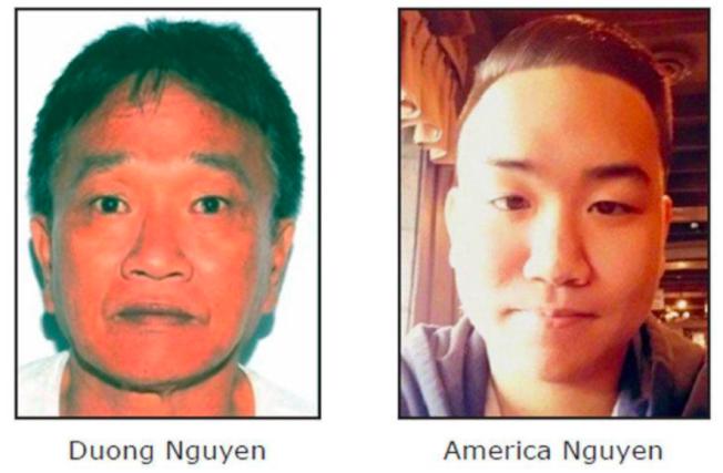 去年11月發生在維州法奇爾郡(Fauquier County)的越南裔父子雙屍命案至今未破,61歲的阮東(左)和他22歲的兒子阮阿美利加陳屍家中。(FBI提供)