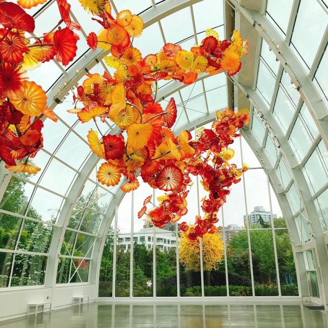 「奇胡利玻璃藝術館」將玻璃藝術與自然、環境融合無間。(記者錢欽青╱攝影)
