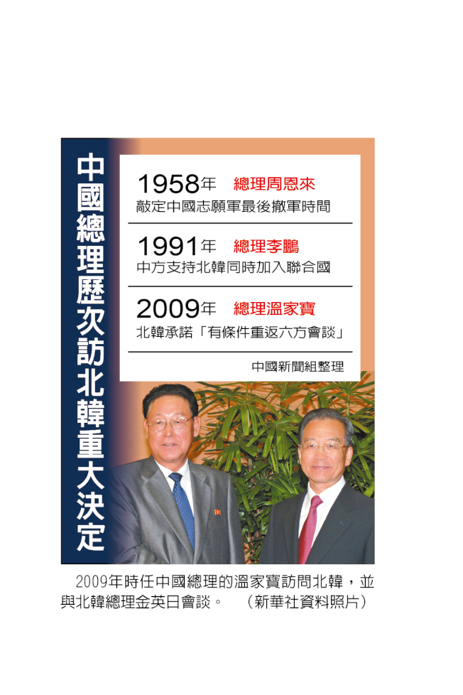 中國總理歷次訪北韓重大決定