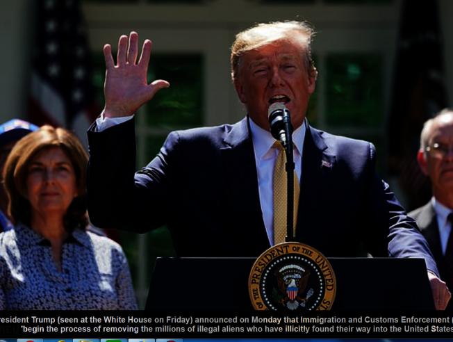 川普總統17日晚在推特上宣布下周起執行遣返無證移民行動。圖為上周川普總統在白宮草坪前講話。(美聯社)