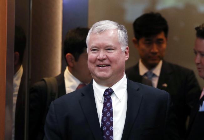 美國北韓特使畢根19日表示,對於和北韓恢復談判不會預設條件,圖為他5月拜訪南韓外交部。(歐新社)