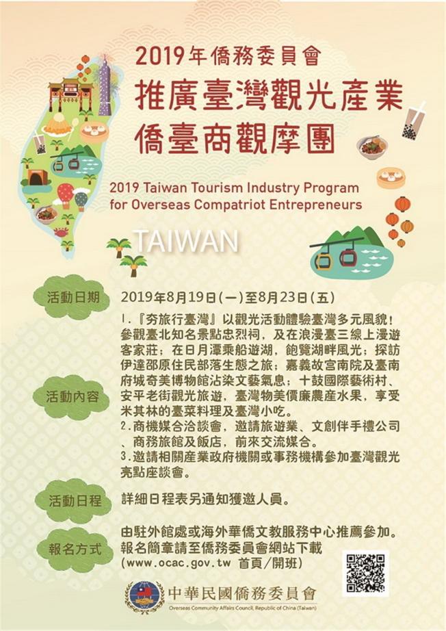 台灣觀光產業僑台商觀摩團 7月5日報名截止