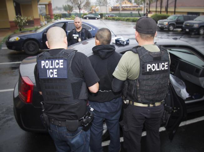 川普總統下令加強遞解無證移民後,又延後兩周行動,圖為移民及海關執法局拘捕犯罪的無證移民。(美聯社)