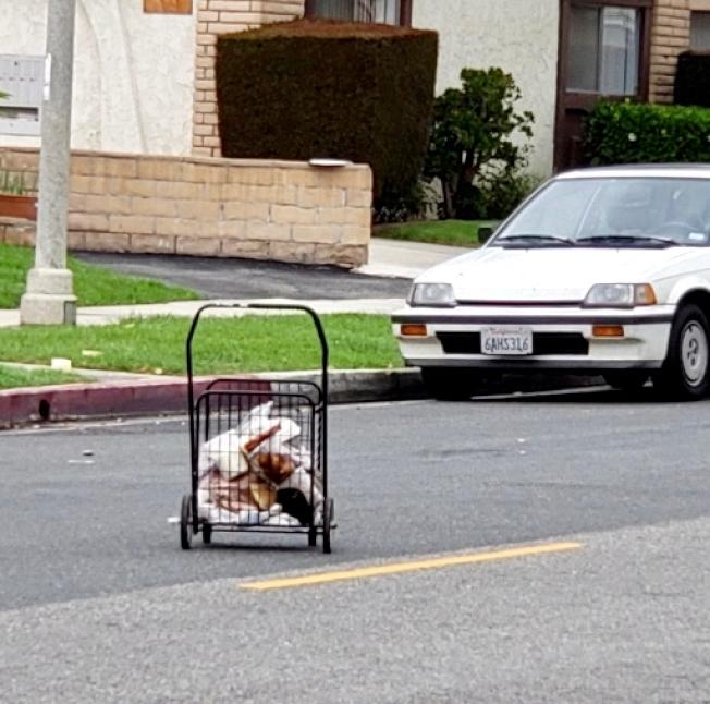 不滿父母往家中撿雜物,王女士將父母的手推車扔上街。(讀者提供)