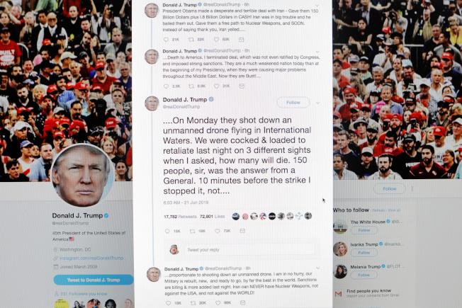川普總統對伊朗的態度一再改變,他在叫停報復攻擊後,又在推特發文對伊朗喊話。(路透)