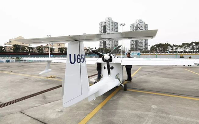 無人機U650日前載滿郵件從上海起飛,歷時52分鐘,平穩降落在浙江舟山嵊泗島。(取材自微信)