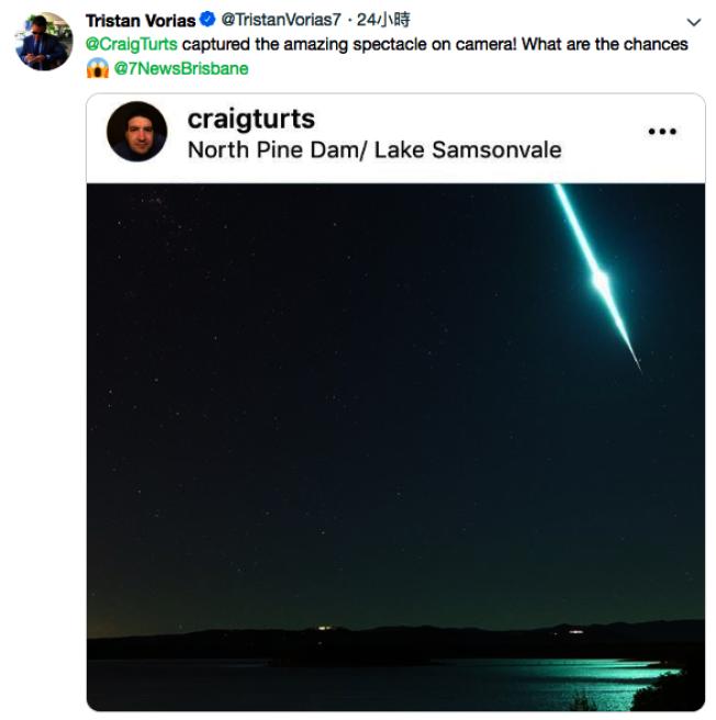 澳洲昆士蘭州(Queensland)23日晚上10點左右出現流星。圖取自Tristan Vorias(@TristanVorias7)推特