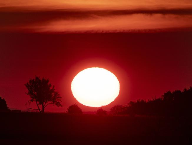 歐洲今天飆高溫,官員在本週稍晚變得更熱之前呼籲要提高警覺。圖為在德國法蘭克福太陽升起的景色。美聯社