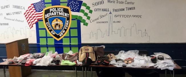 市警一分局「周末大執法」,收繳假冒商品種類、數量季度最多。(市警提供)