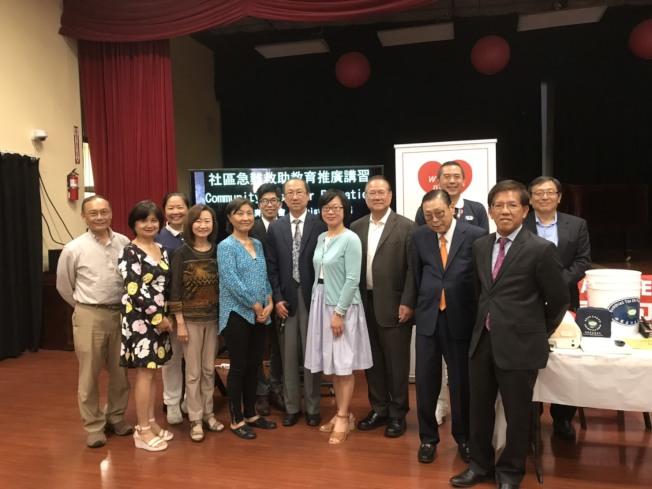 橙縣僑界急難救助協會在聖地牙哥台灣中心舉辦「災難應變及救護準備」講座。圖為主辦單位、僑學界和社區領袖合影。(橙僑中心提供)