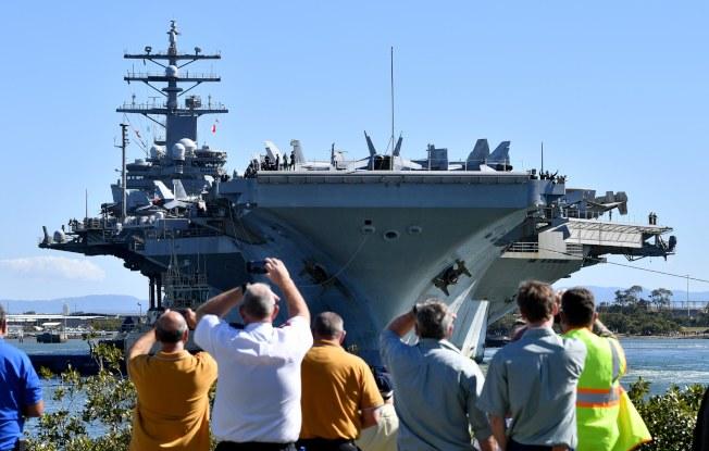 美國核動力航母「雷根號」2017年訪問澳洲。歐新社資料照片