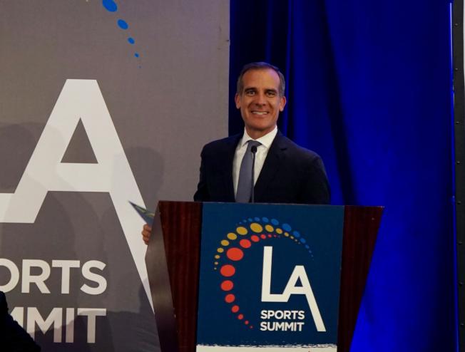 洛杉磯市長賈西提指出,未來十年洛杉磯體育業將迎重大發展。(記者陳開/攝影)