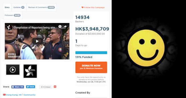 反送中擬全球報章登頭版廣告,網民眾籌300萬港幣超額完成。取自明報