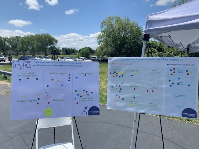為幫助民眾了解正確使用公園的用途,凱辛納聯合協會和市公園局等日前在社區日中調查民意。(記者牟蘭/攝影)
