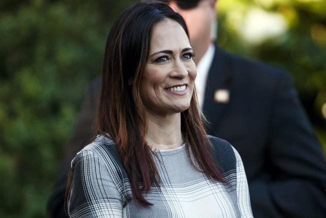 白宮25日宣布現任第一夫人梅蘭尼亞發言人的葛瑞珊,將接替桑德斯,出任白宮發言人一職。(美聯社)