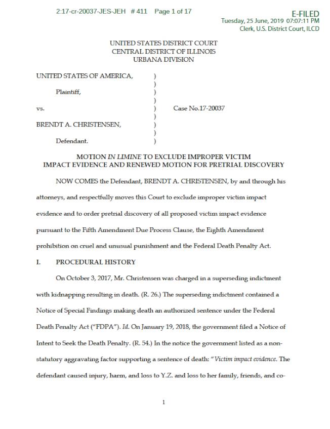 辯方律師25日所提動議首頁。(法院檔案)