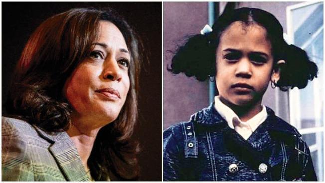 賀錦麗在柏克萊出生和長大,她父母在柏克萊加大認識,母親是癌症研究人員,父親是史丹福大學教授;右圖是她五歲時,在柏克萊上學,被柏克萊市的「反種族隔離政策」,每天用巴士載到與白人學生的學校上課。(Getty Images)