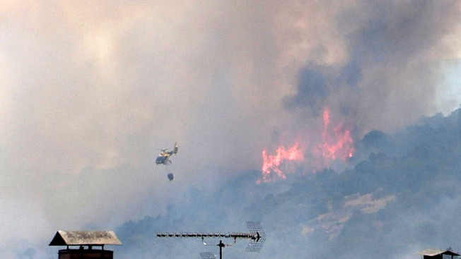 熱浪引發西班牙境內野火。(歐新社)
