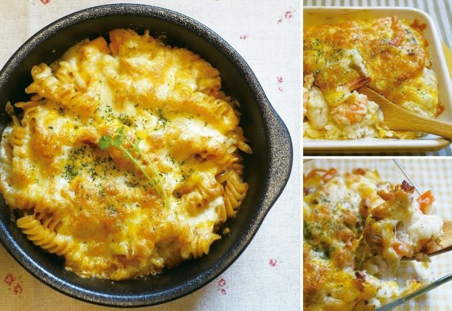 香氣十足色澤鮮豔的焗烤料理,很適合當宴客菜。圖/太陽臉