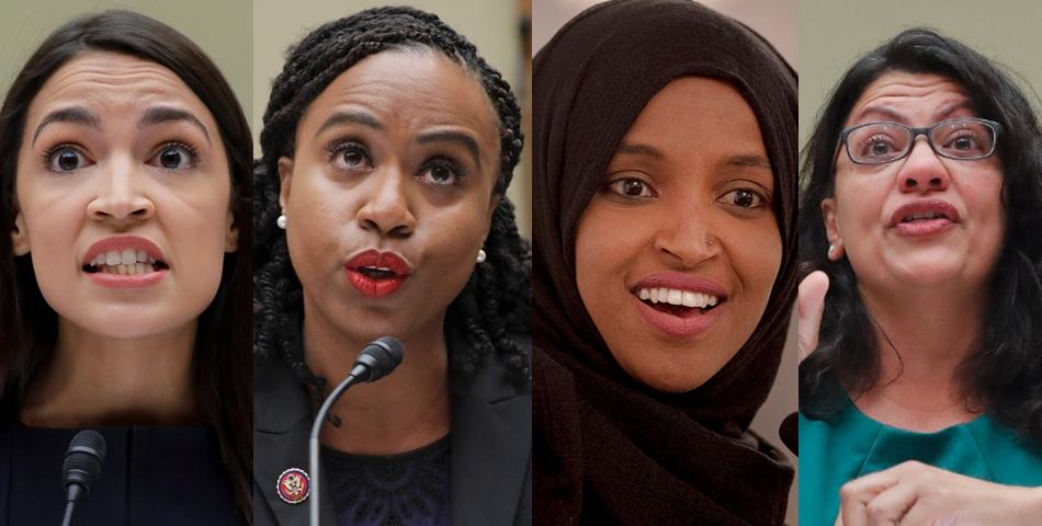 川普今推文罵四位眾議員。由左至右,紐約州聯邦眾議員歐凱秀-柯提茲、麻州聯邦眾議員普斯莉、明尼蘇達州聯邦眾議員歐瑪、密西根州聯邦眾議員特萊布。美聯社