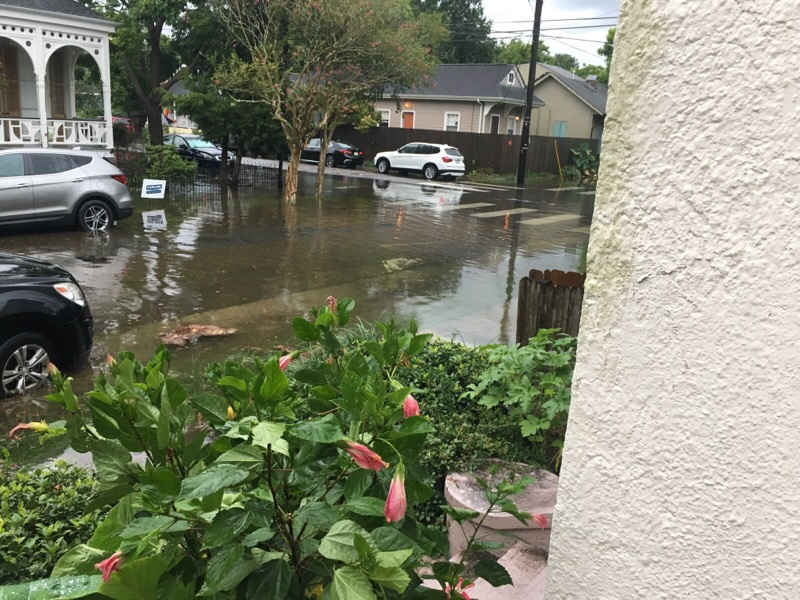 一名紐奧良居民10日上午家門口的淹水情況。(Laura Livoti提供)