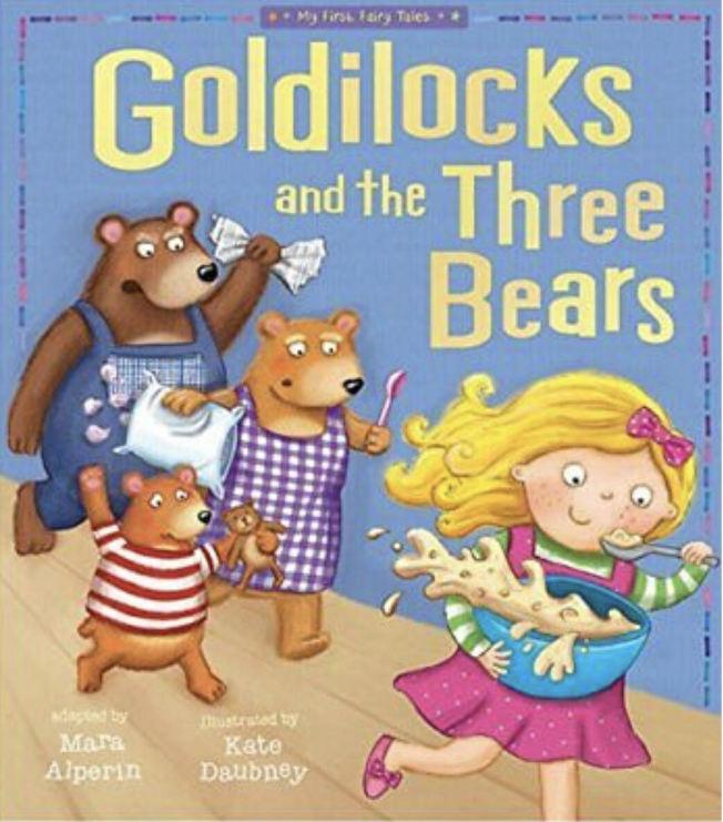 Goldilocks and Three Bears是英國寓言式童話,恰到好處的概念被借用來當教養參考。(eBay售書封面)