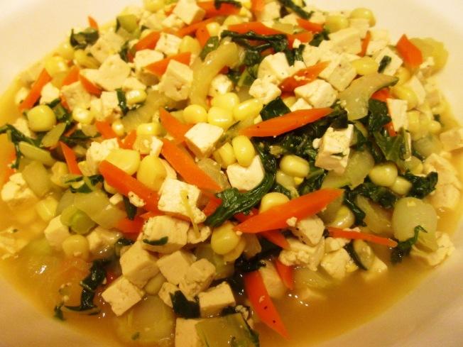 玉米白菜炒豆腐