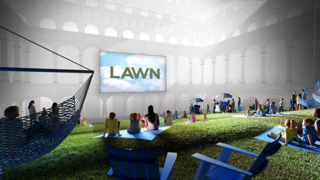 國家建築博物館將在國慶日當天推出室內大型裝置交互藝術「草坪」。(博物館提供)