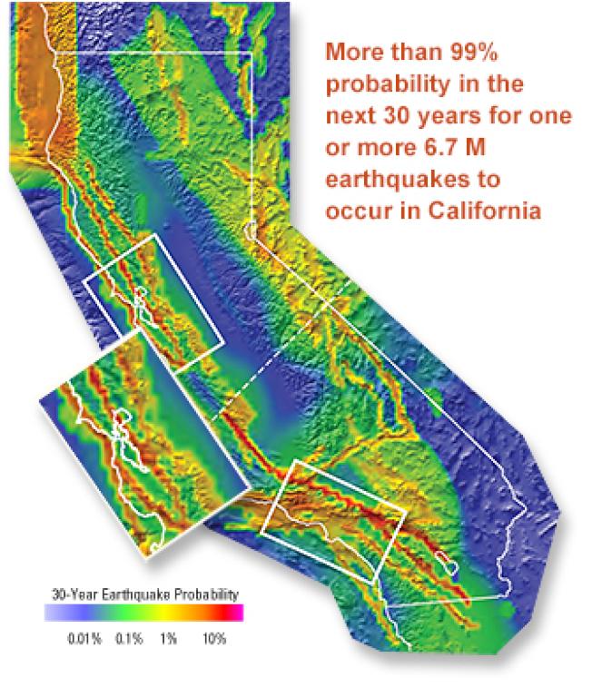 美國地質調查所(USGS)公布的「大地震機率」地圖;以全加州來說,未來30年,發生規模6.7強震的機率達到99%,而灣區的海沃斷層(Hayward Fault),則達到31%。(圖:USGS)