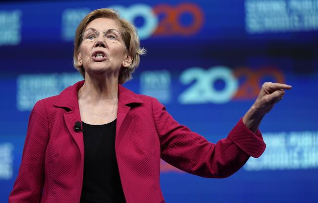 參選2020年總統大選的聯邦參議員華倫,推動種族和性別薪酬平等。(美聯社)
