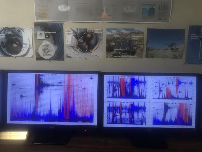 加州理工學院地震記錄儀顯示規模7.1地震。(加州理工博士後王新提供)