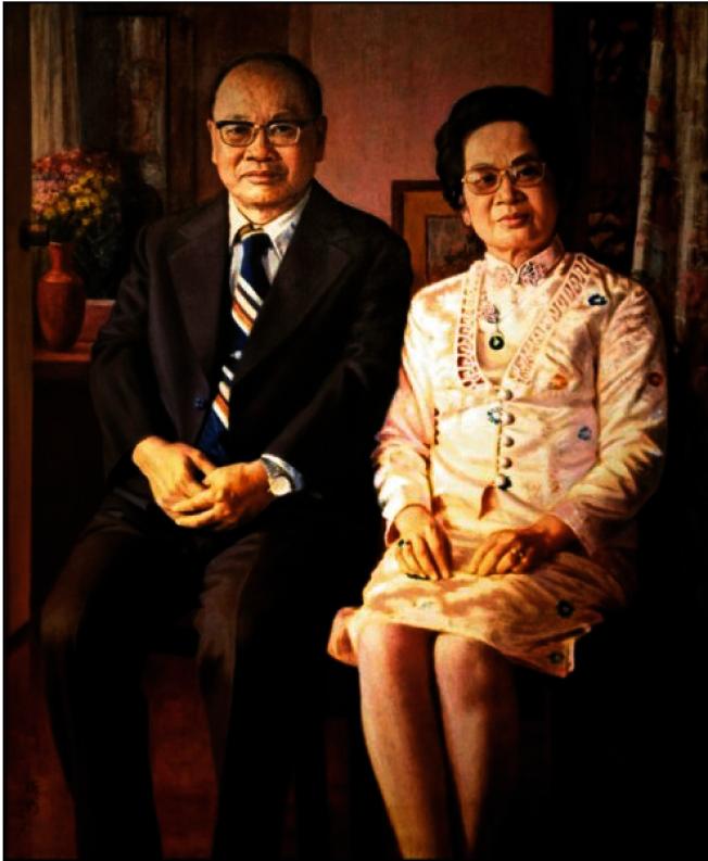 李梅樹為許鴻源夫婦所繪肖像,1980年完成。(順天美術館提供)