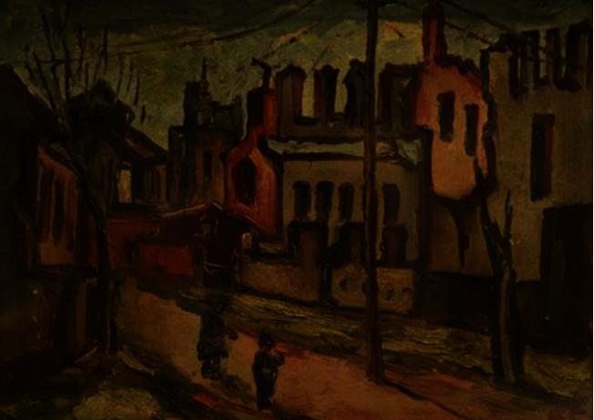 陳澄波畫作《戰後》,1932年。(許振輝/攝影)