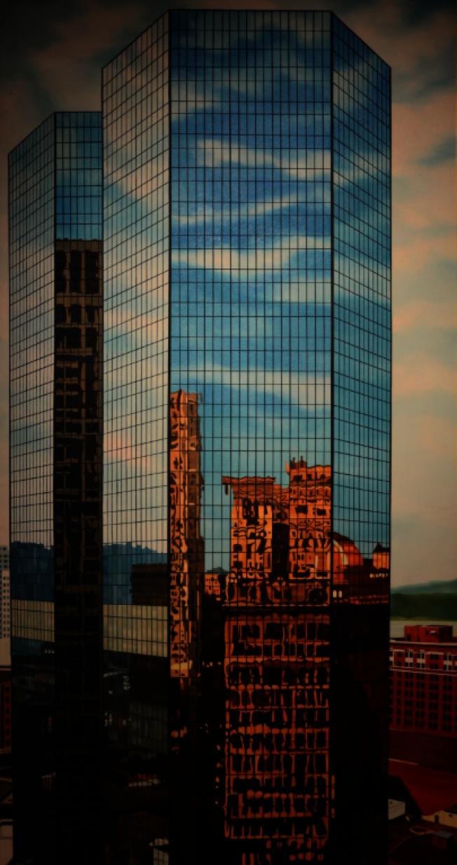 姚慶章畫作《高樓大廈》,1982年。(許振輝/攝影)