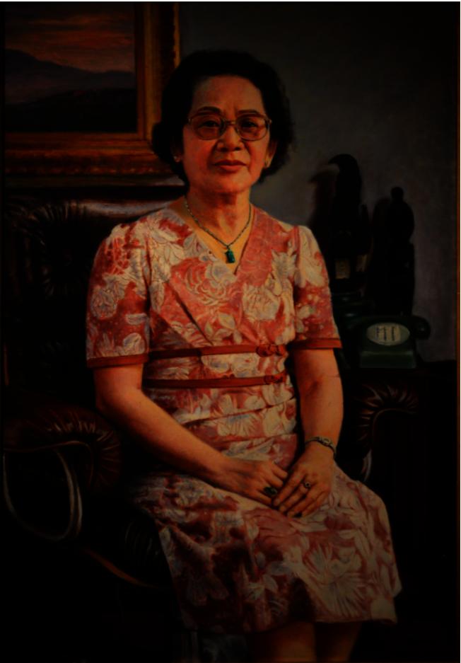李梅樹畫作《許夫人像》,1981年。(許振輝/攝影)