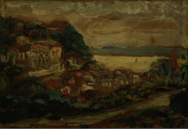 廖繼春畫作《淡水遠眺》,已經在去年11月捐回台灣。(本報系資料照片)
