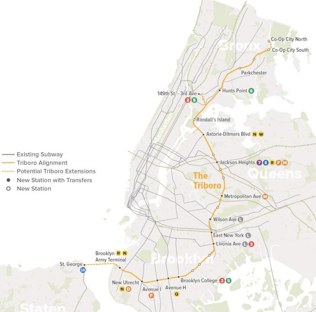 「三區鐵路線」將避開曼哈頓,更方便民眾通勤。(取自RPA網站)