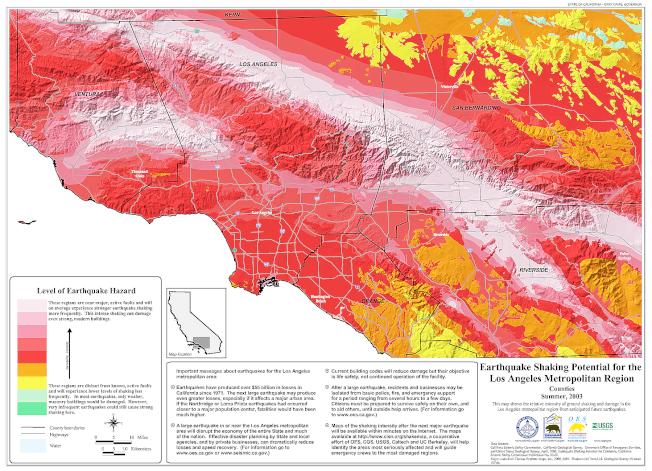 洛縣地區基本為紅色,振動強度點數取值大部分都是七點。(加州地震安全局)
