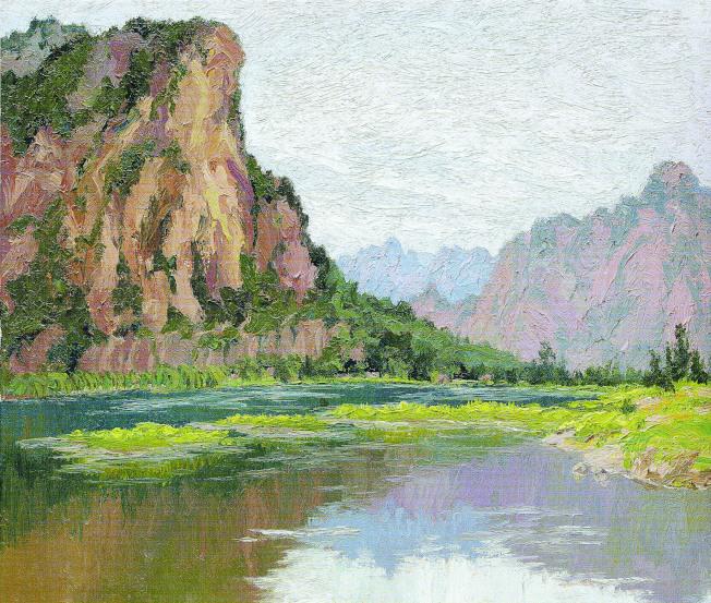 吳亭萱油畫〈北京十渡〉。