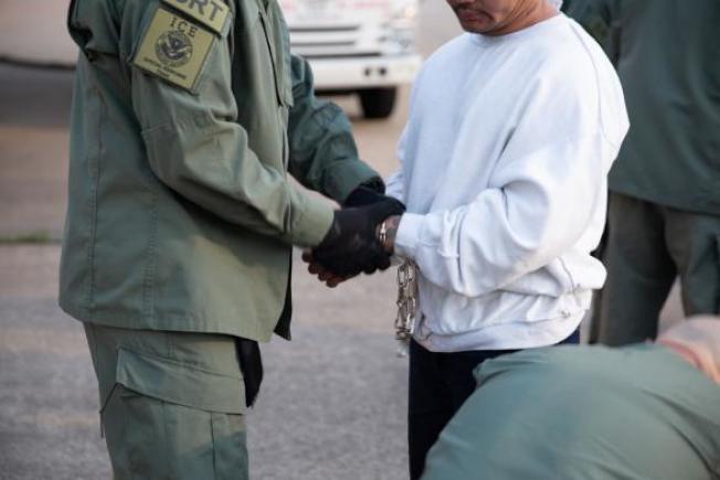 川普政府的一位移民高官7日再提大規模遣返話題,導致恐慌情緒在無證移民社區瀰漫。圖為ICE此前逮捕並遣返無證移民。(取材自ICE推特)