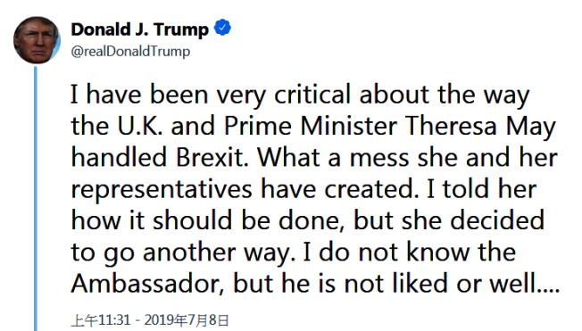 川普總統對遭駐英大使達洛許批評,非常不滿,連續推文批評稱梅伊首相不聽他的建議,以致脫歐一事失敗。(取自推特)