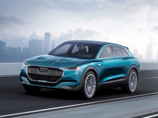 奧迪全電動車E-Tron外形科技感時尚感十足。